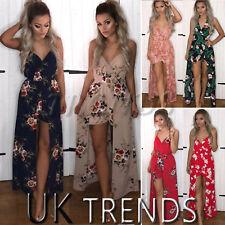 UK Women Floral Print Playsuits Maxi Long Dress Summer Holiday Boho Ladies 6-14