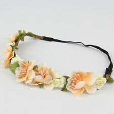 Rose Flower Head Chain Jewelry Hollow Elastic Hair Band Headband Wedding