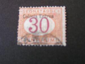 *ERITREA, SCOTT # J4, 30c. VALUE BUFF & MAGENTA 1903 POSTAGE DUE ISSUE USED