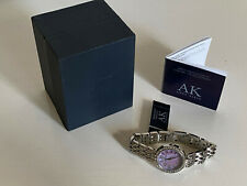 ANNE KLEIN MOTHER OF PEARL SWAROVSKI CRYSTALS ACCENT SILVER BRACELET WATCH $85