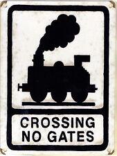 New 20x30cm Crossing No Gates train retro medium metal road wall sign
