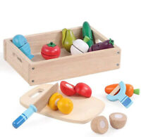 Wooden Cutting Fruit and Veg Toys Pretend Play Wood Food Cutting Set for Kids