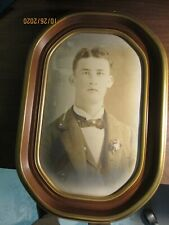"New ListingVintage convex oval bubble glass framed picture of young man 19 1/2"" x 13 1/4"""