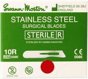 100pcs Swann Morton 10R Sterile Scalpel Blades Dermaplaning Dermal Vellus Hair