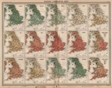 GREAT BRITAIN. England and Wales. Monthly & annual Temperatures. LARGE 1903 map