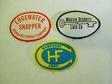 Lot of 3 Company Patches-Hamferry Corp, Edgewater Snapper & Master Security Lock