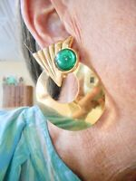 Authentic Vintage Gold Tone  Green Cabochon Clip Earrings Oversize