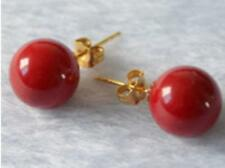 14K Gold Plated 10mm Aaa Coral Red Shell Pearl Earring