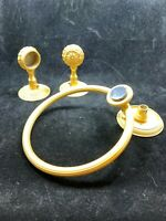Vintage salvage Ornate gold finish towel bar brackets and towel ring