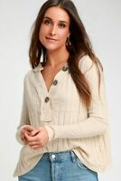 IN THE MIX IVORY RIBBED LONG SLEEVE TOP BNWT's Size Medium $78.00