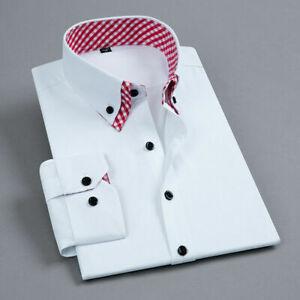 Mens Dress Shirts Long Sleeves Formal Slim Business Double Collar Casual Shirts