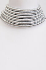 "14"" silver 6 layer multi strand row coil choker collar necklace balmain"