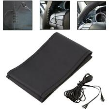 New Car Truck Leather Steering Wheel Cover With Needles and Thread Black DIY GA