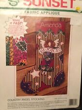 """Sunset Country Angel Stocking Fabric Applique 16"""" 1994, Complete Kit #18041, New"""