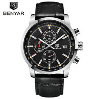 BENYAR Chronograph Date Genuine Leather Band Men Military Quartz Wrist Watches