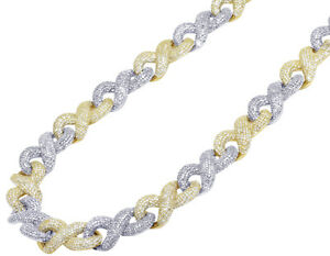 """Two-Tone Yellow/ White Gold Infinity Cuban Real Diamond Chain 19.75CT 12MM 18"""""""