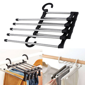 Trousers Organizer Clothes Rack Shelves 5 in 1 Pants Hanger Stainless Steel