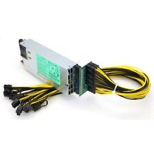 HP Server PSU 1200W Platinum 94% + Breakout Board + 10x PCI-E Cables GPU Mining