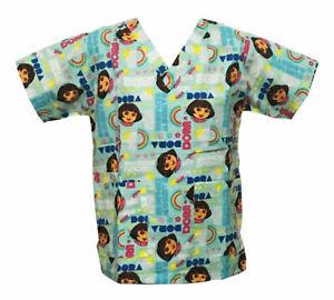 Nickelodeon Nursing Pediatric Scrubs Shirt Top Dora Light Blue XL