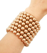 Statement Gold Topaz Faux Pearl Layered STRETCH Bracelet Set Rocks Boutique