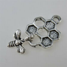 12578 30PCS Alloy Dangle Honeybee Bee Dangle Honeycomb Pendant Charm