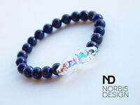 Men's Lapis Lazuli Double Skull Bracelet with Swarovski Crystal 6-9inch Elastic