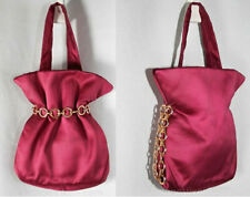 New listing Beautiful 1940s Merlot Satin Evening Purse Handbag with Chain Strap - Bags by Jo
