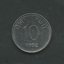 INDIA, 1992 (N), 10 PAISE, STAINLESS STEEL, KM#40.1, BRILLIANT UNCIRCULATED