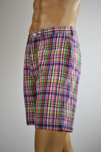 Ralph Lauren Men Cotton Navy Blue,Pink &Yellow Plaid Shorts-Sz 35- NWT