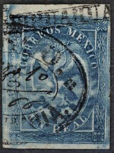 MEXICO.1865 EAGLE.1R.blue 4th period 169-1865.CHIHUAHUA name and cancel RRRRR