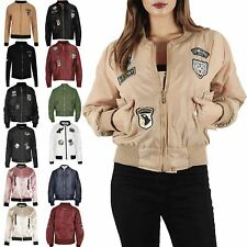 Womens Ladies MA1 Classic Padded Airforce Zip Up Army Badges Biker Bomber Jacket