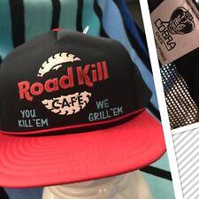 NOS Vtg ROAD KILL CAFE stupid Novelty Trucker Mesh/foam Snapback Hat DEADSTOCK
