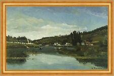 THE MARNE AT CHENNEVIERES Camille Pissarro Francia fiume collina B a3 00919