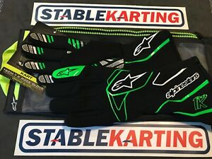 Go Kart - Alpinestars - TECH 1-K GLOVES-BLACK/GREEN- Small
