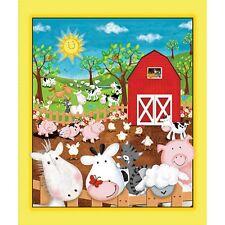 Animal Farm Panel cotton quilt fabric Quilting Treasures Cow Horse Pig Chicken