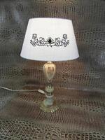 Tischlampe Antik Stil Messing Onyx Verziert Schirm Stoff Lampe Leuchte Rar 1a2