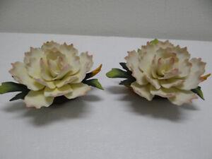 "PAIR Peony Chrysanthemum Flower Sculptures Andrea by Sadek China 7"""