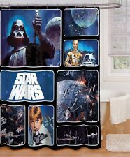 Star Wars Cloth Shower Curtain And 12 pc Ring Set Retro Darth Vader Luke C3PO