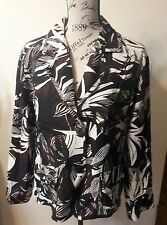 Women's Chico's Size 2 (12 14) Brown White Black Embroidered Silk Jacket