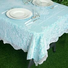 WHITE 54x72 RECTANGLE Floral LACE TABLECLOTH Wedding Party Catering Kitchen SALE