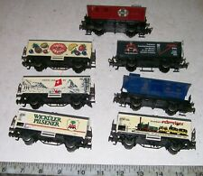 7 X Vintage Marklin HO / OOO 4-Wheel Freight Cars, Made in Western Germany