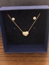 Nwt Swarovski Heart Necklace Earring Set 5030713 Rose Valentine's Day Gift Rev.