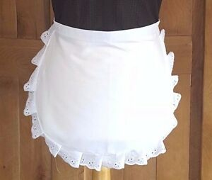 LADIES Victorian / Edwardian WAIST White Maids Apron EMBROIDERY  ANGLAISE TRIM