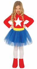 Girls Supergirl Superhero Fancy Dress Costume Book Day Outfit Childrens