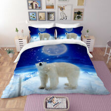 3D Glacier Polar Bear Duvet Cover Twin Bedding Set Comforter Cover Pillow Case