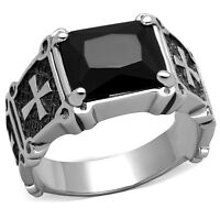 MENS BLACK STONE WITH CROSS SILVER STAINLESS STEEL RING SIZE 8 9 10 11 12 13