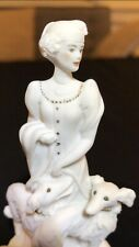 """Giuseppe Armani Woman with Two Dogs 1993 Sculpture Figurine 5"""" Florence Italy"""