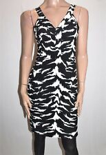 peter morrissey Brand Black White Ikat Print Sleeveless Dress Size 8 BNWT #Ti100