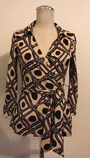 Diane Von Furstenberg Vintage Circles Black Beige Silk Jill Wrap Top Size 6