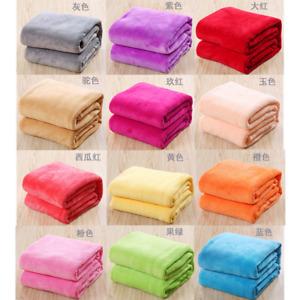 Home Super Soft Warm Micro Coral Plain Fleece Blanket Throw Rug Sofa Bedding